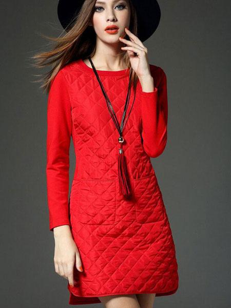 Red Shift Dress Round Neck Long Sleeve Split Short Cotton Dress For Women фото