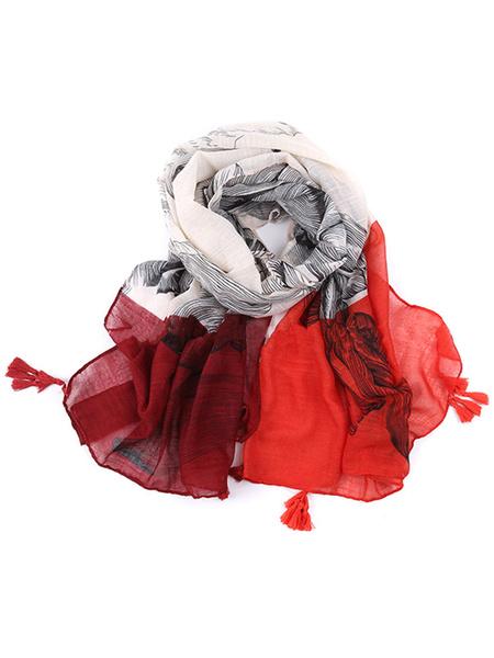 Damen Schals Floral Multicolor leichte Schal mit Quasten gedruckt