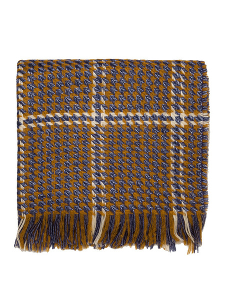 Women's Cashmere Scarf Plaid Velour Fringe Light Brown Blanket Scarf For Winter Milanoo