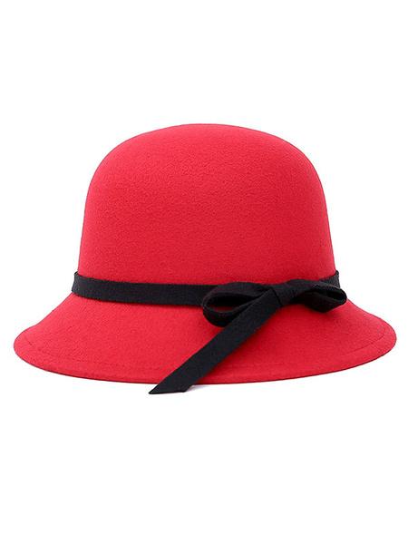 Red Cloche Hat Women's Round Top Bow Ribbon Woolen Felt Hat For Winter Milanoo