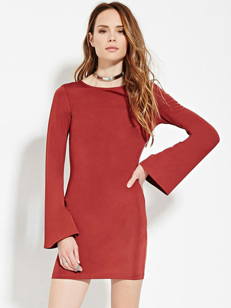 Red Bodycon Dress Round Neck Bell Long Sleeve Slim Fit Backless Sheath Dress