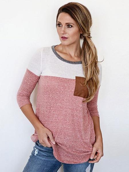 Lange Ärmel T-shirt Damen zweifarbige Runde Hals übergroßen Baumwoll T-Shirt mit Tasche