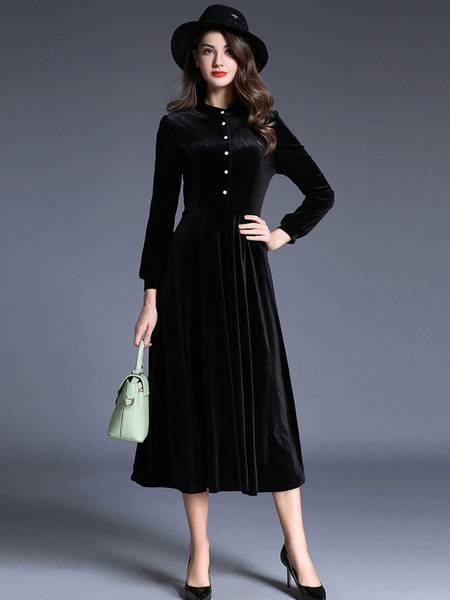 Black Maxi DressVelvet Long Sleeve Stand Collar Front Buttons Slim Fit Skater Dress For Women фото
