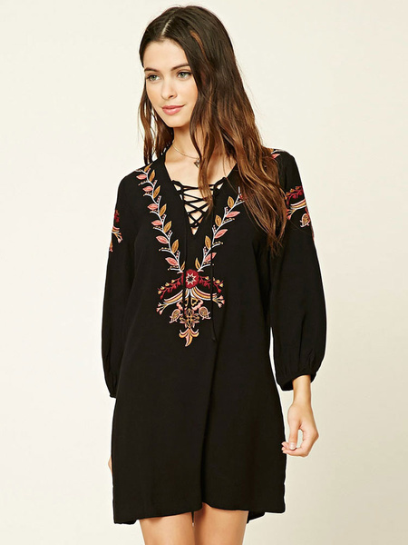 Boho Vintage Dress Black Embroidered V Neck Long Sleeve Oversized Shift Dress For Women