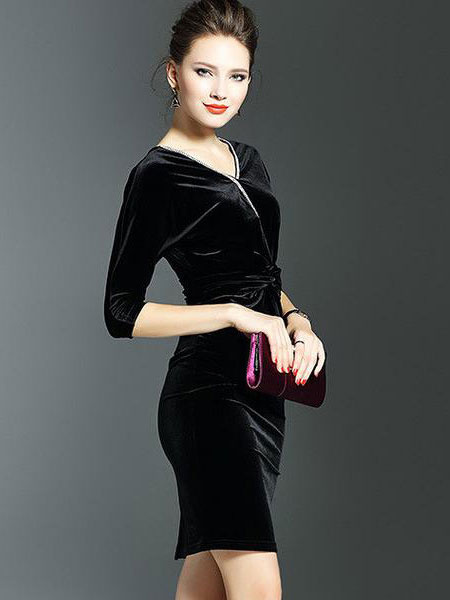 Black Bodycon Dress Velvet V Neck Half Sleeve Slim Fit Winter Dress For Women