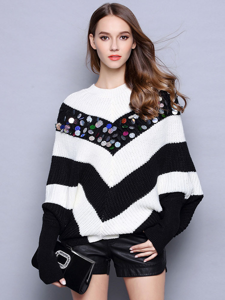 Women's Pullover Sweater Sequins Black & White Striped Batwing Long Sleeve Oversized Knit Sweater фото