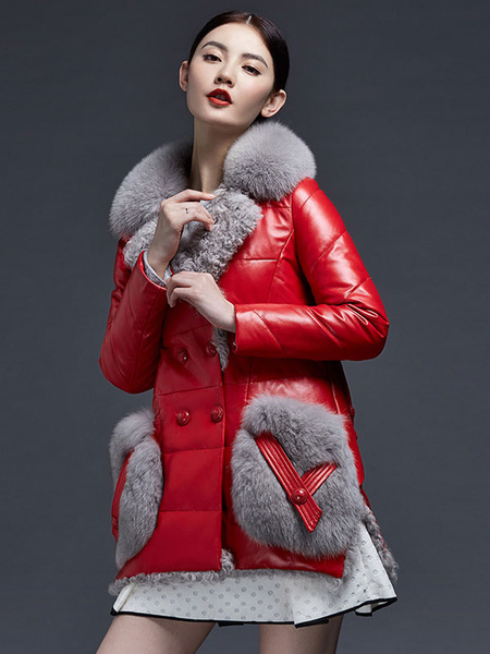 Leather Down Coat Red Fox Fur Women's Long Sleeve Warm Winter Coat With Big Pockets фото