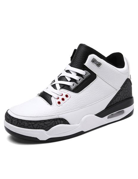 Кроссовки двухцветные белые мужские на шнуровке спортивная обувь