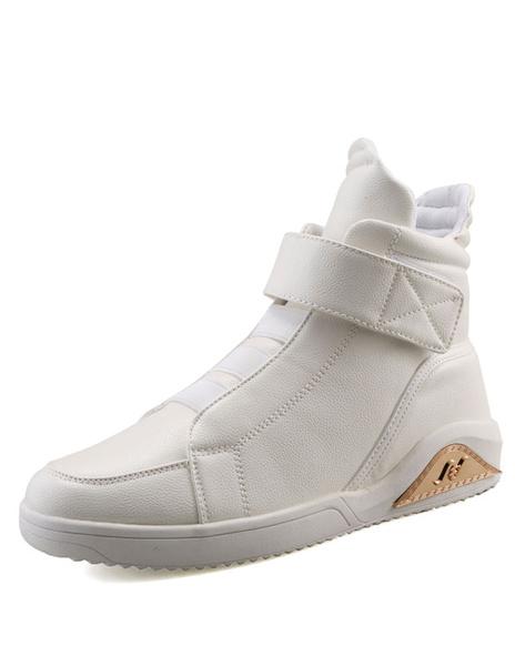 Men's Casual Shoes White Flat Metal Details Shoes фото