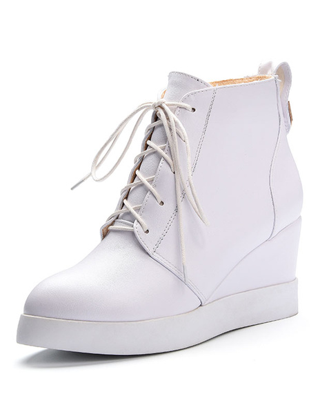 White Wedge Booties Women's Platform Lace Up Round Toe Short Boots With Zipper фото