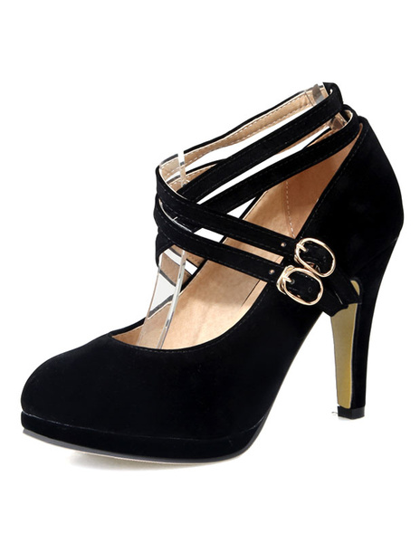 High Heel Pumps Platform Black Suede Round Toe Criss-Cross Shoes For Women фото