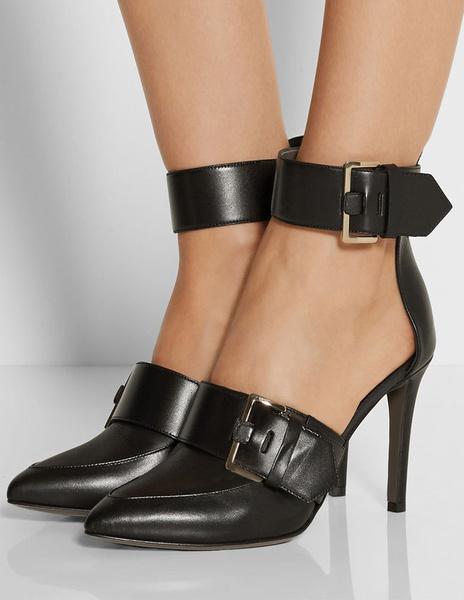 Chaussures à talons aigus en PU noir unicolore fait main avec boucle de polyuréthane / PU