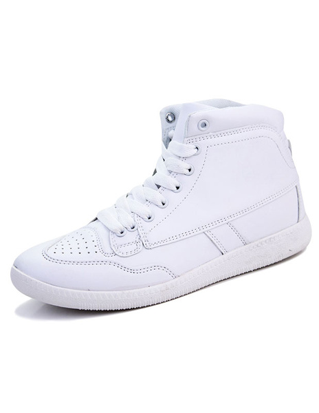 Men's Casual Shoes White High Top Lace Up Breathable Flat Shoes фото