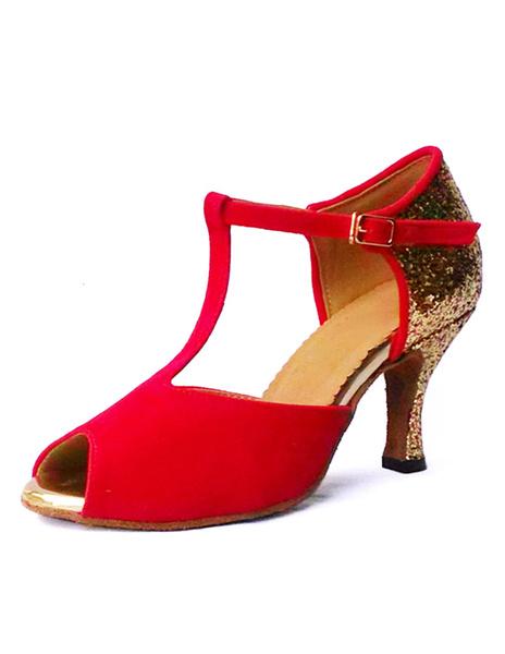 Red Dance Shoes Suede High Heel Peep Toe T-Type Flared Heel Ballroom Shoes фото