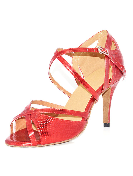 Red Ballroom Shoes High Heel Criss Cross Peep Toe Buckled Stiletto Heel Dance Shoes фото