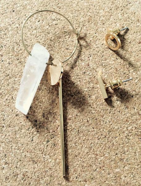 Asymmetrische Ohrstecker Ohrringe Gold Set Frauen Hoop Ohrringe baumeln von 3 Stück
