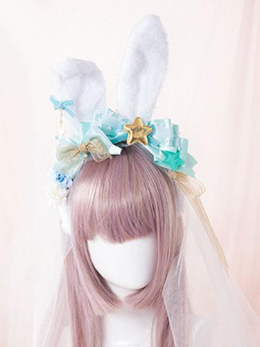 Sweet Lolita Headband Cute Green Bows Star Lolita Headband With Bunny Ears фото