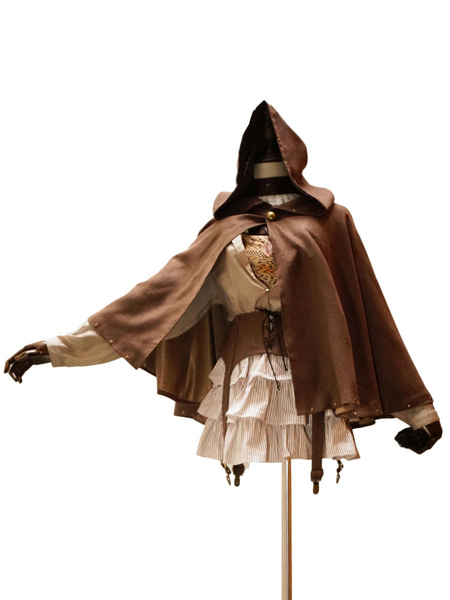 Gothic Lolita Cape Hooded Steampunk Suede Lolita Outwear With Rivets фото