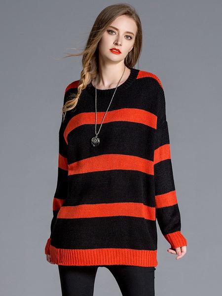 Женская пуловер свитер двухцветный в полоску с длинным рукавом Сплит негабаритных вязать свитер