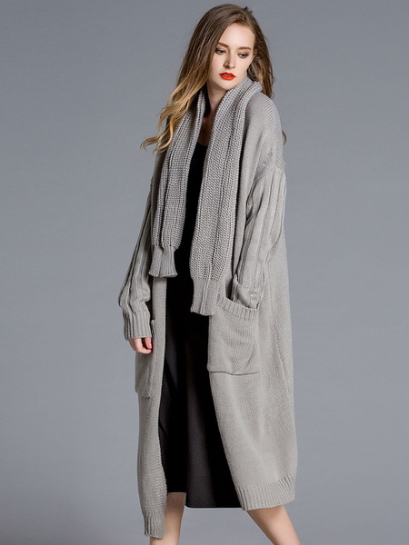 Long Cardigan Coat Women's Grey Open Front Knee Length Sweater Cardigan With Knit Scarf фото