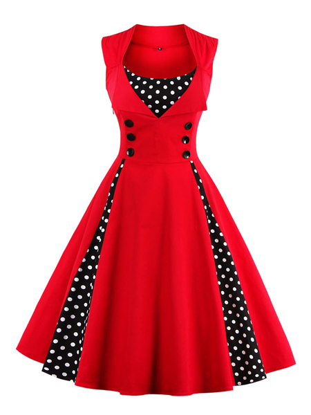 Red Vintage Dress Polka Dot Square Neck Sleeveless Slim Fit Circle Pleated Skater Dress For Women