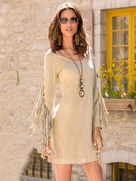 Khaki Bodycon Dress Round Neck Fringe Long Sleeve Slim Fit Cotton Winter Dress For Women