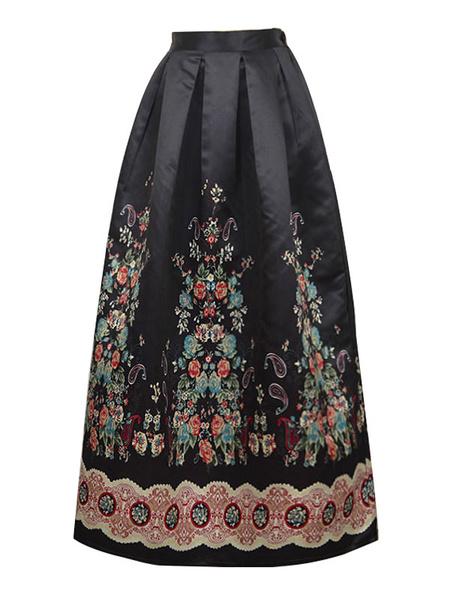 Black Skater Skirt Floral Printed Elastic Waist A-line Pleated Flare Skirt For Women