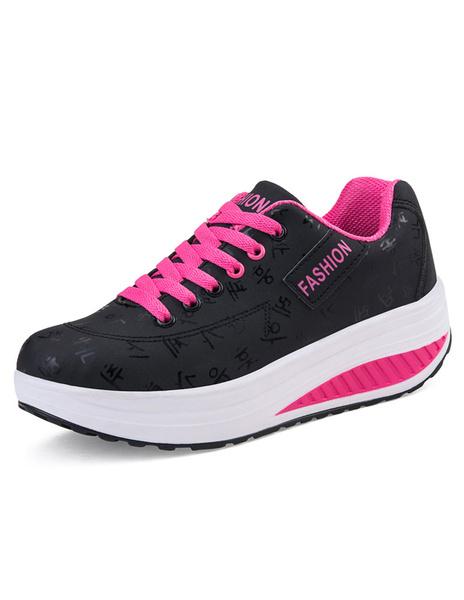 Обучение женщин кроссовки замши черный круглый Toe платформы узелок свободного покроя обувь