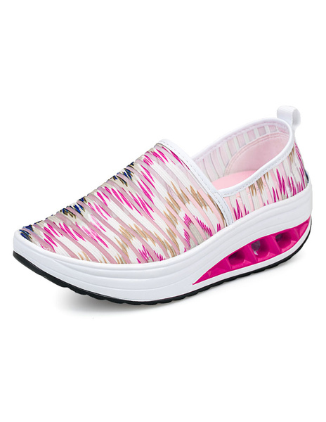 Женские разноцветные кроссовки волнистые полосатый платформы сетки скольжения на Повседневная обувь