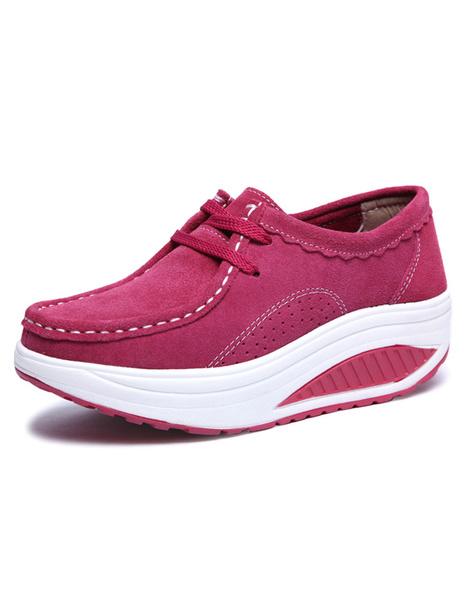 Платформа замши ботинки женщин Красный зашнуровать кроссовки