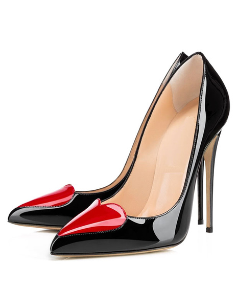 High Heel Pumps Black Pointed Toe Slip-On Stiletto Shoes For Women