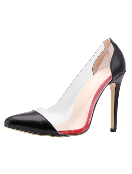 High Heel Pumps Pointed Toe Clear Women's Stiletto Slip On Two Tone Shoes фото