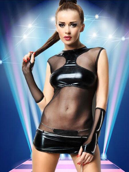 Fascinante robe de club en PU noir à demi-transparence unicolore avec chaîne col rond