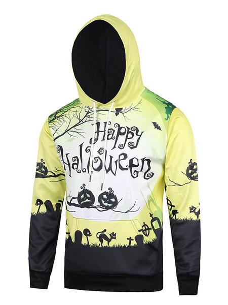 Men's Yellow Hoodie Halloween 3D Print Cotton Long Sleeve Hooded Sweatshirt