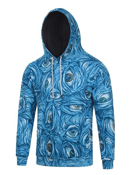 Blue Men's Hoodie 3D Eyes Print Cotton Long Sleeve Hooded Sweatshirt фото