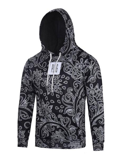 Black Men's Hoodie 3D Floral Print Cotton Long Sleeve Hooded Sweatshirt