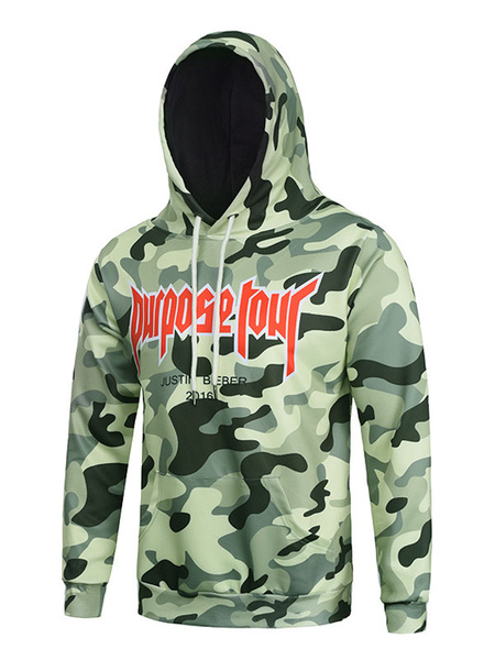 Men's Camo Hoodie 3D Print Green Cotton Long Sleeve Hooded Sweatshirt фото