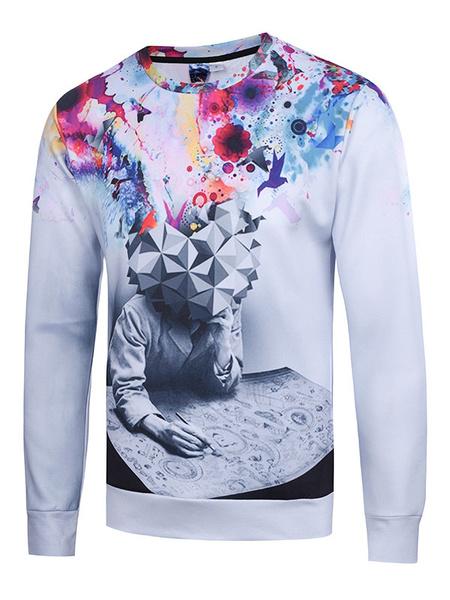 Men's White Sweatshirt 3D Artwork Print Cotton Long Sleeve Pullover Top