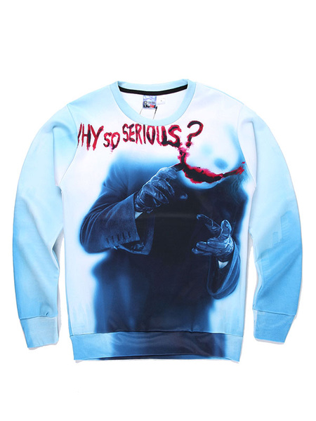 White Men's Sweatshirt 3D Halloween Print Cotton Long Sleeve Pullover Top