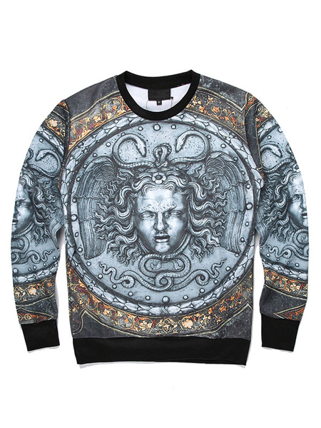 Men's Cotton Sweatshirt 3D Christmas Print Long Sleeve Jewel Neckline Pullover Top