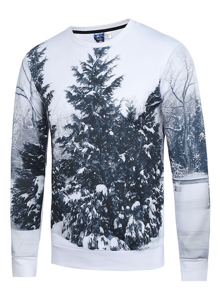 White Men's Sweatshirt 3D Tree Print Cotton Long Sleeve Pullover Top For Winter