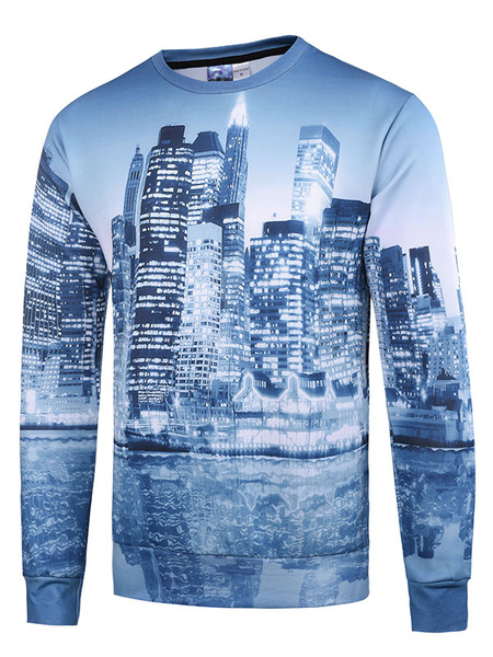 Men's Cotton Sweatshirt 3D Urban Building Print Long Sleeve Pullover Top