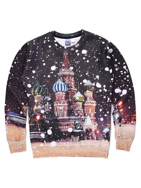 Men's Winter Sweatshirt 3D Fairytale Print Cotton Long Sleeve Pullover Top