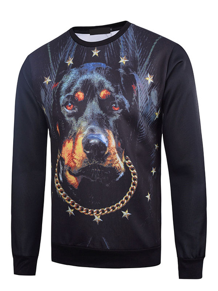 Black Men's Sweatshirt 3D Dog Print Cotton Long Sleeve Pullover Top