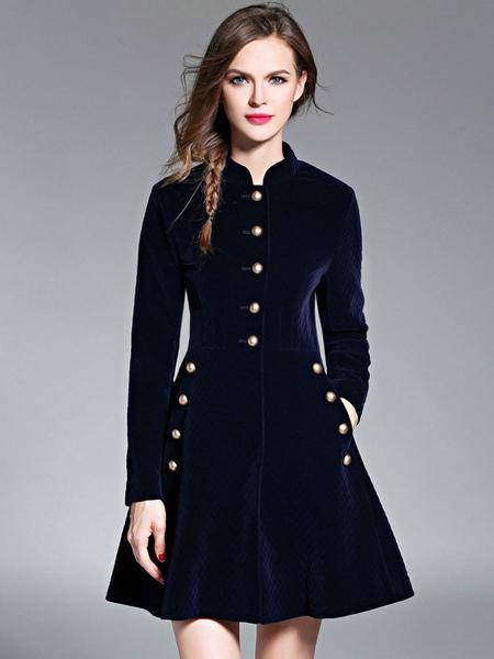Velvet Skater Dress Button Stand Collar A Line Long Sleeve Pockets Flared Dress