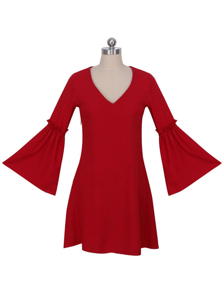 Red Shift Dress Bell Sleeve V Neck Pleated Loose Dress For Women