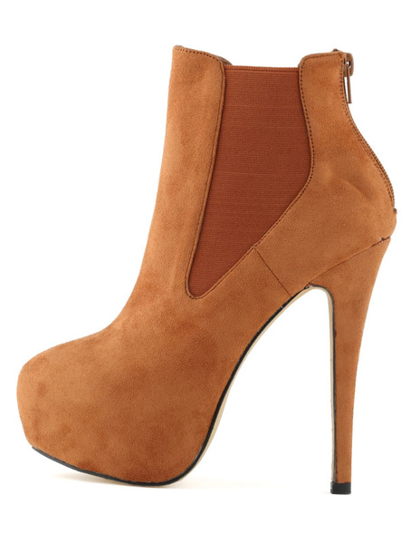 Suede Ankle Boots Platform High Heel Booties Women's Zipper Stiletto Solid Color Elastic Short Boots фото