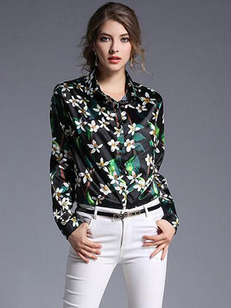 Women's Black Blouse Euro-Style Turndown Collar Long Sleeve Floral Print Front Buttons Casual Shirt фото