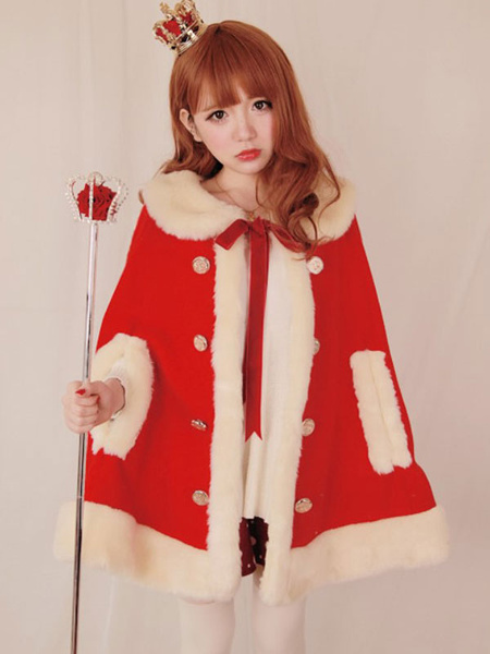 Sweet Lolita Cape Coat Wool Faux Fur Tie Collar Luxurious Poncho Lolita Coat For Winter фото