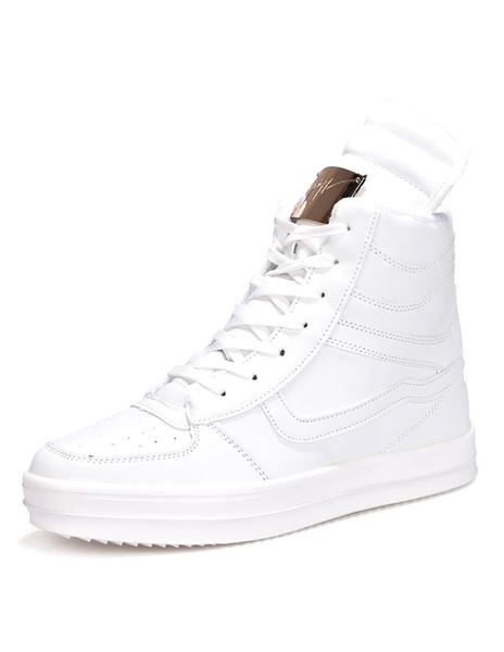 Белые высокие кроссовки мужские Повседневная обувь кружево вверх круглый носок металлические детали спортивной обуви